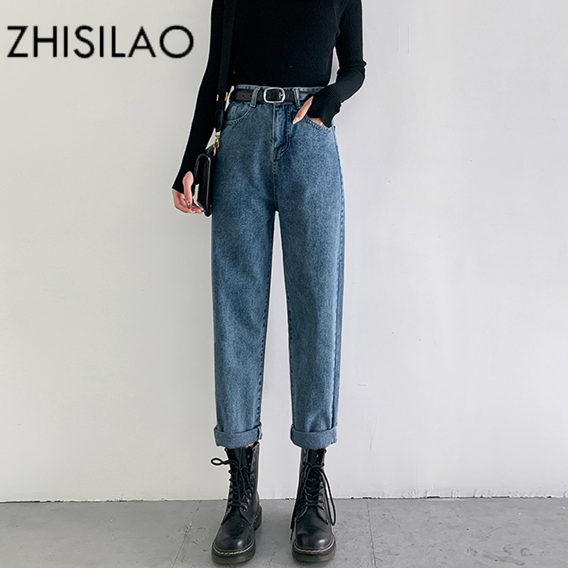 Vintage Straight Harem Jeans Women Plus Size High Waist Retro Mom Boyfriend Jeans Femme 2020 Black Blue Retro Denim Pants