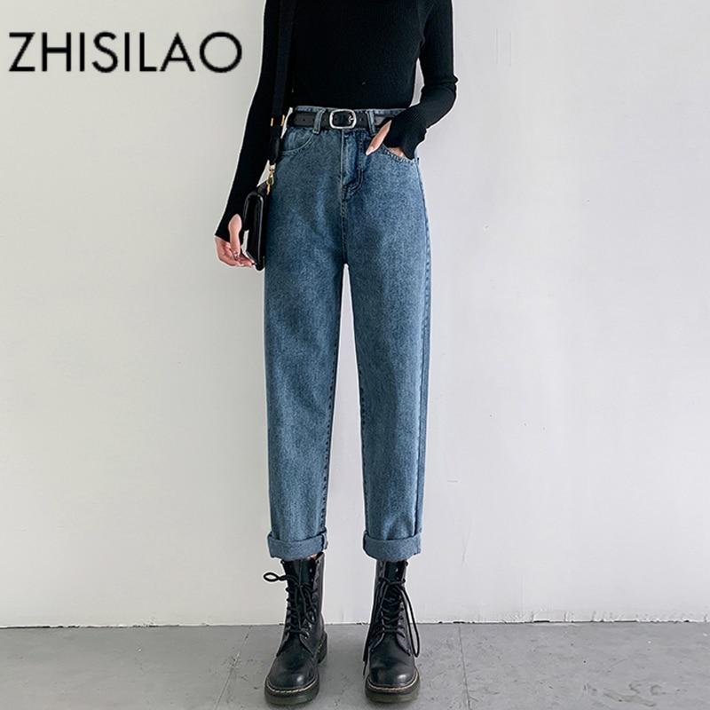 Vintage Straight Harem Jeans Women Plus Size High Waist Retro Mom Boyfriend Jeans Femme 2020 Black Blue Retro Denim Pants