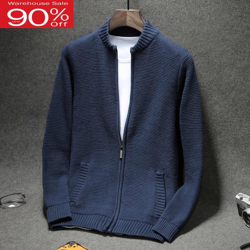 Men cardigan zipper 2020 autumn and winter cotton male thin slim plus size sweater teenage boy knitted outerwear M12