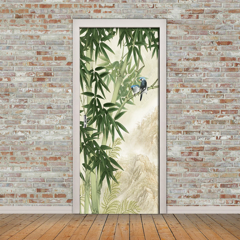 3D Hand Drawn Bamboo Forest Bird Door Sticker Wallpaper Living Room Bedroom Door Wall Sticker Mural Decals For Home Decor Poster