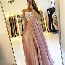 2019 Blush Pink Long Bridesmaid Dresses High Side Split Spag