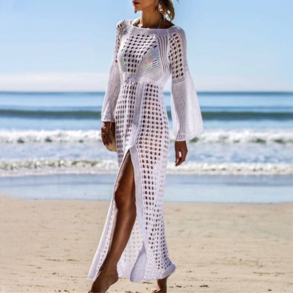 Sexy Hollow Transparent Beach Tops Women Elegant White Long Dress Summer 2020 Beachwear Black Sundress Split Knitted Dresses
