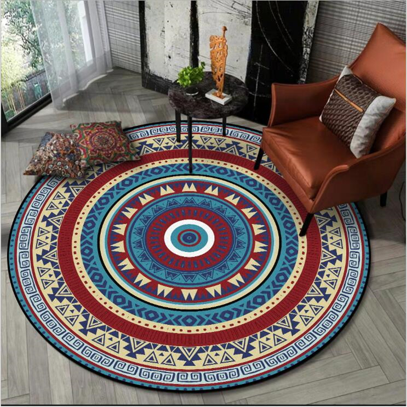 AOVOLL 100% Polyester Round Carpet Bohemian Geometric Ethnic Style Living Room Bedroom Rugs Non-slip Mat Area Rugs Alfombra