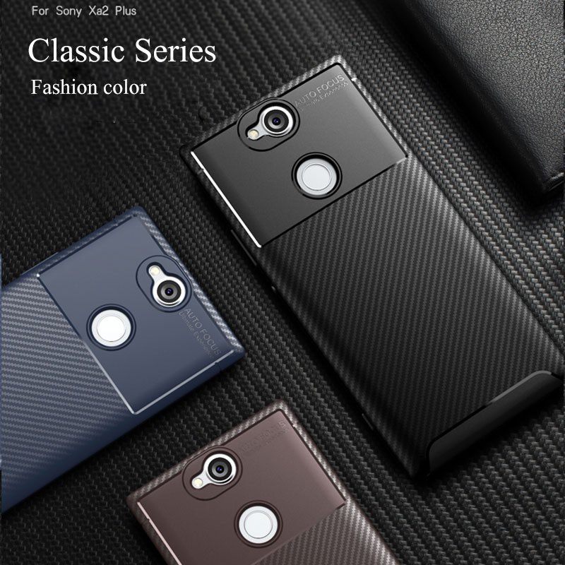 For Sony Xperia XA2 Plus Case Cover Carbon Fiber Shockproof Soft TPU Silicone Bumper Back Phone Case For Sony Xperia XA2 XA 2
