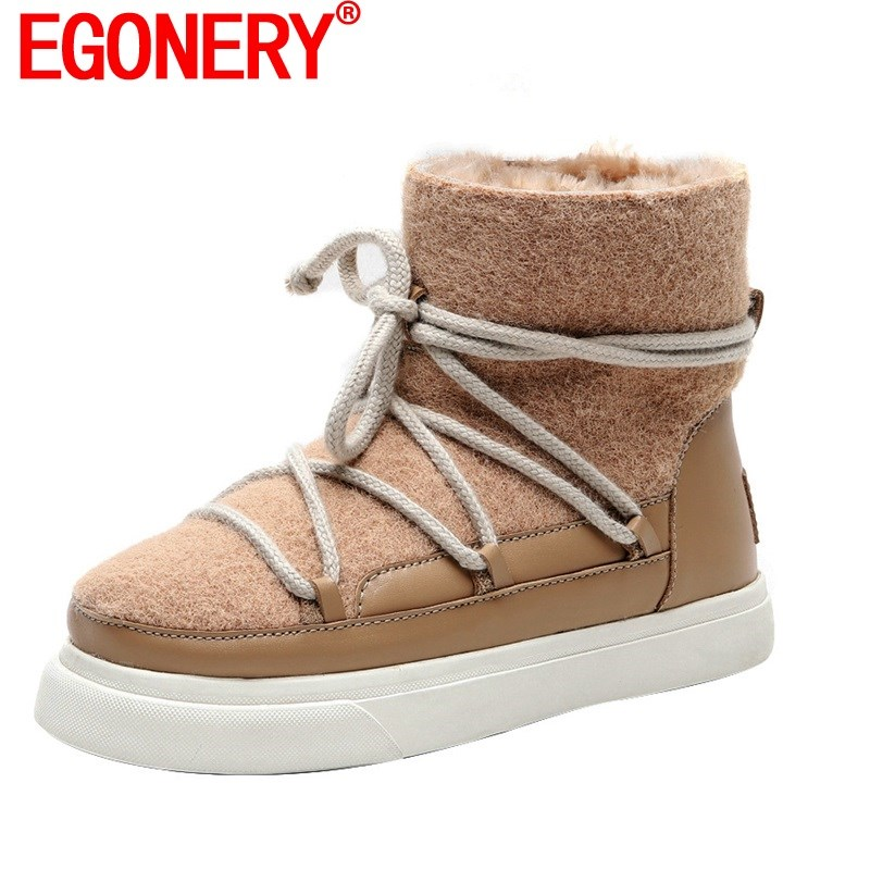EGONERY Cute Wool Snow Boots 2020 Winter Fashion Women's Flats Shoes Pink Apricot Black 34-42 Plus Size Ankle Boots Dropshipping