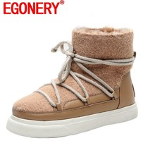 Flats-Shoes Snow-Boots Wool Pink EGONERY Black Plus-Size Winter Fashion Women's Cute