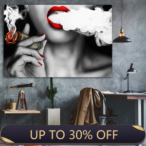 Red Lipped Smoking Woman Wall Art Canvas Painting Wall Art for Living Room Home Decor No Frame