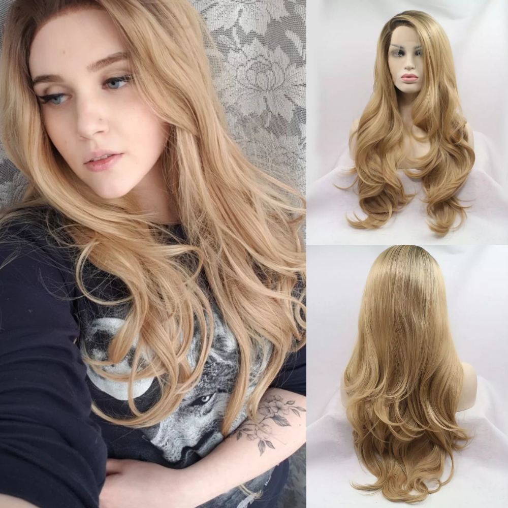 Sylvia Ombre Brown Blonde Natural Wavy Side Part Heat Resistant Fiber Synthetic Lace Front Wig For Women 2 Tones Glueless Hair
