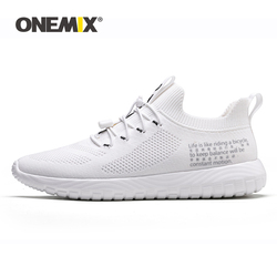 ONEMIX Tennis Shoes For Women Flying Woven Breathable Outdoor Sneakers Woman Light Round Cross Straps Flat Slip on Sports Shoes