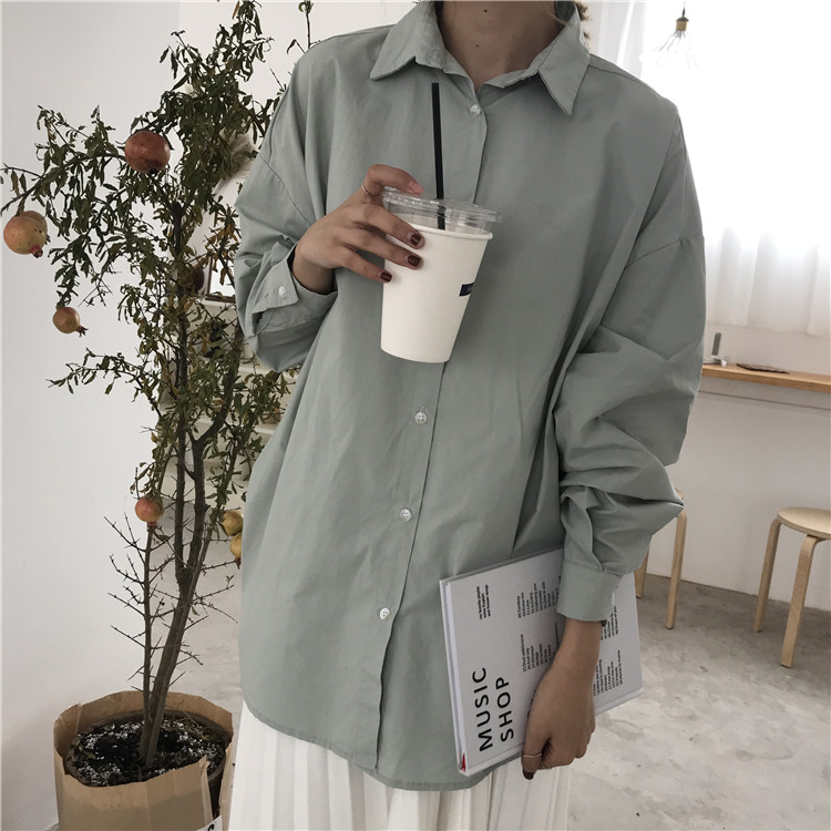 100% cotton Women's Blouse 4 Colors oversized blouses BF style shirts 2020 Spring Autumn long sleeve Tops Loose Blusas Mujer