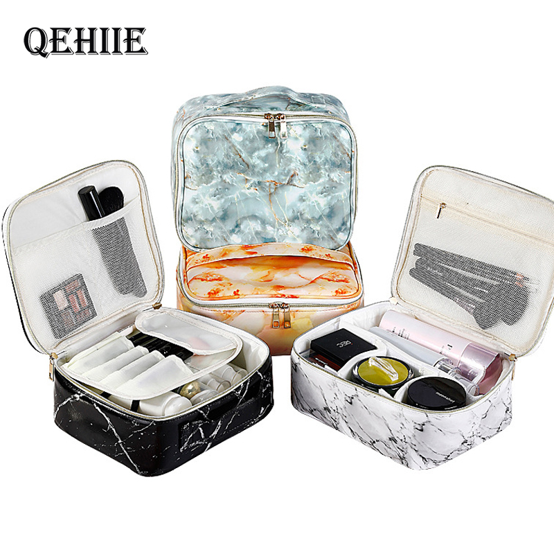 Women's Marble Cosmetic Bag PU Beauty Wash Pouch Makeup Box Vanity Case Beautician Toiletry Organizer Travel Accessories Supply