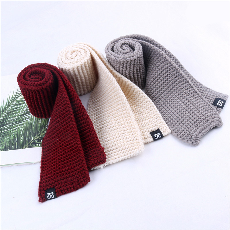 Solid Color Small Scarf Women Short Autumn And Winter Children Knitting Wool Men Warm Korean Ring