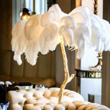 Luminária moderna de luxo de pena de avestruz, piso dourado, resina de cobre, latão, lâmpada nórdica para vila, trivaso, hotel, iluminação decorativa