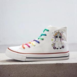 Image 5 - SWYIVY נשים מגופר נעלי קריקטורה קשת שרוכים בד נעלי נשים פלטפורמה שטוח גבוה למעלה לבן גבירותיי מקרית סניקרס