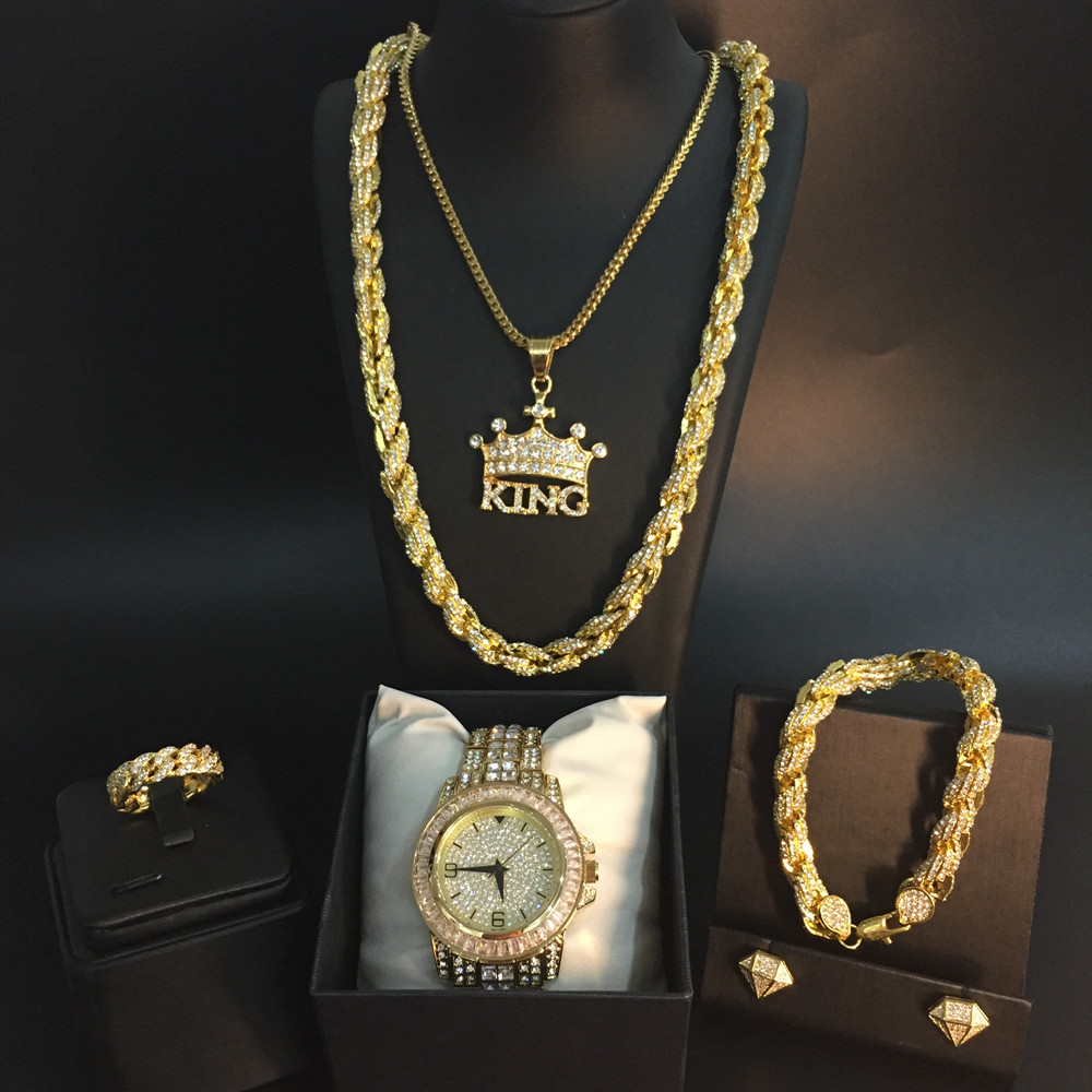 Hommes de luxe montre Hip Hop hommes croix couronne Ice Out cubain collier montre & collier & Bracelet & anneau & boucles d'oreilles Combo ensemble Hip Hop pour hommes