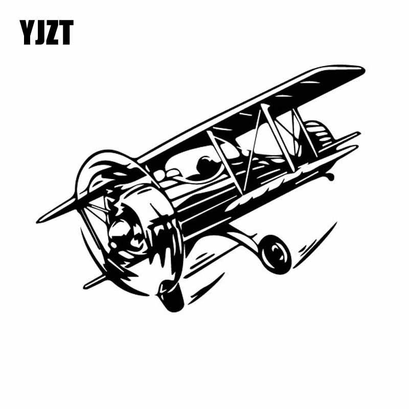 YJZT 18.1CM*13.6CM Cool Aircraft Flying Dazzling Plane Vinyl Decal Beautiful High Quality Car Sticker Black/Silver C27-1124