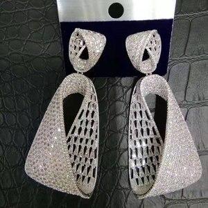 Image 5 - Godki高級ウォータードロップキュービッジルコンczロングブラブライヤリング女性の結婚式ドバイドロップピアスブークレドールペンドオレイルファム2018