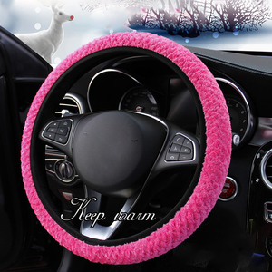 AOZBZ Universal Soft Warm Plush Cover Car Steering Wheel Cover Car-styling Auto Decoration Winter Warm Relive Hand Fatigue