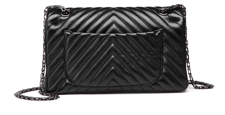 2019 Fashion Quilted Leather Chain Handbag Womens Luxury Shoulder Bags Branded Famous Black Double Flap Crossbody Bag for Women (39)