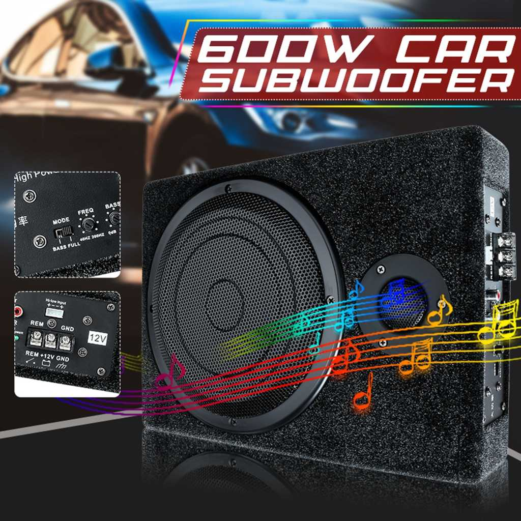 600W 8 Zoll DC 12V Auto Verstärker Audio Stereo Bass Lautsprecher Auto Subwoofer Auto Audio Verstärker Auto Lautsprecher mit Draht Kit