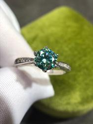 Excellente qualité vert Moissanite bague émeraude argent 925 Original diamant Test 1 Carat 6.5mm pierres précieuses fiançailles bagues