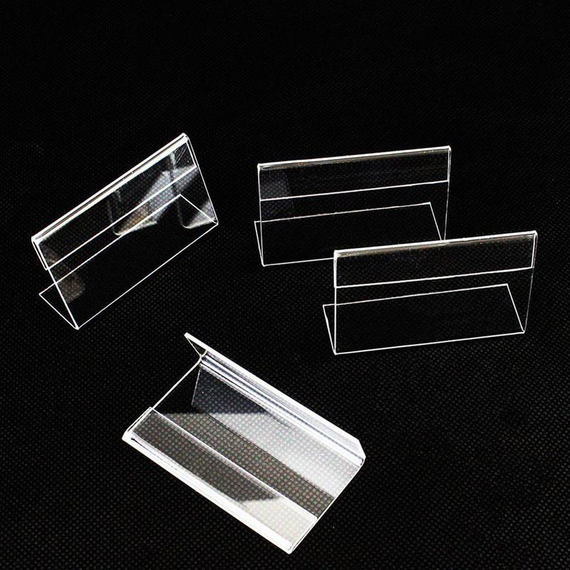 10 PCS Acrylic T 1.5mm Clear Plastic Desk Sign Label Display Card Label Stand Paper Holders Tag Price Frame Frame Holder Acry