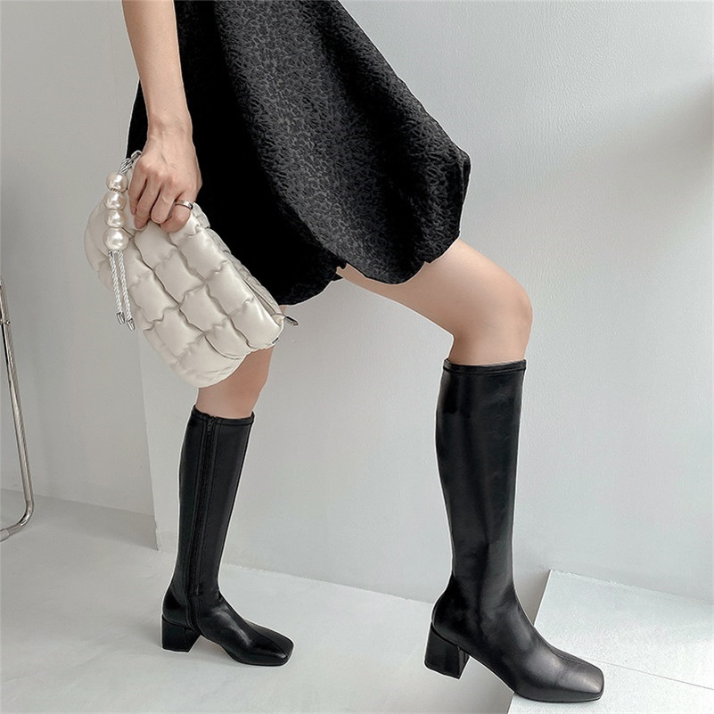 Meotina Genuine Leather High Heel Long Boots Women Shoes Square Toe Block Heels Zipper Knee High Boots Autumn Winter Apricot 40