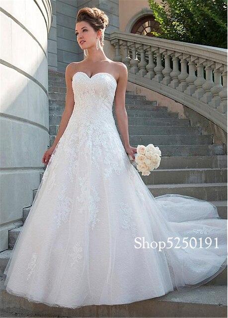 Romantic Lace Sweetheart Neckline A-line Wedding Dress Strapless Crystals Bridal Gowns robe de mariee princesse de luxe 3