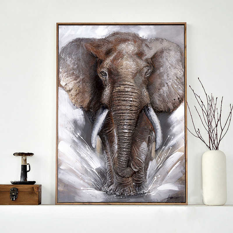 SELFLESSLY Grey Elephant Wall Art Canvas Pictures Posters Home Decor Modern Animal Elephants Printed Cuadros Decoration