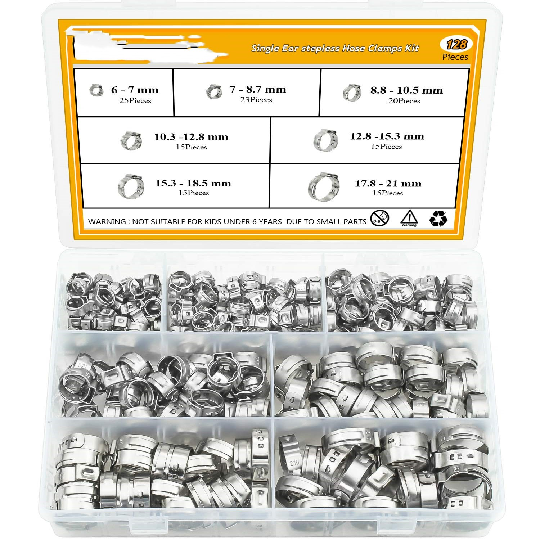 128 шт., зажимные зажимы для шлангов из нержавеющей стали 304, набор зажимных зажимов для крепления трубных шлангов