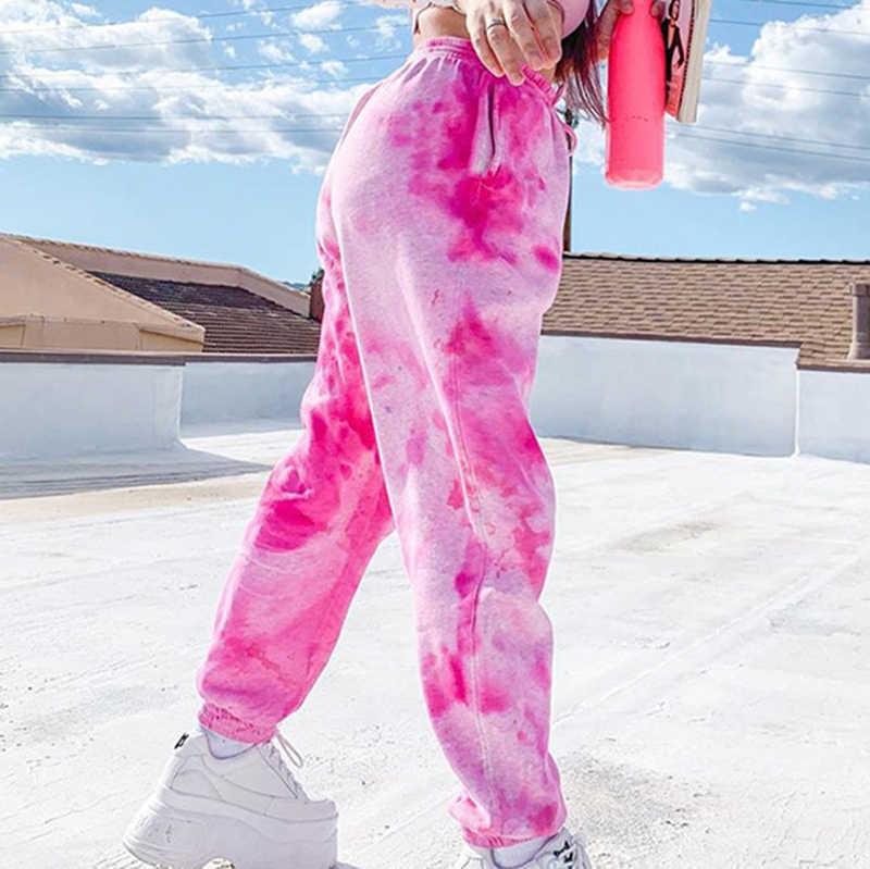 2020 Mùa Dây Buộc Dài Thấm Hút Mồ Hôi Cho Bạn Nữ Thun Cao Cấp Quần Baggy Hip Hop Dáng Rộng Quần Nữ Thời Trang Quần Dài Màu Hồng