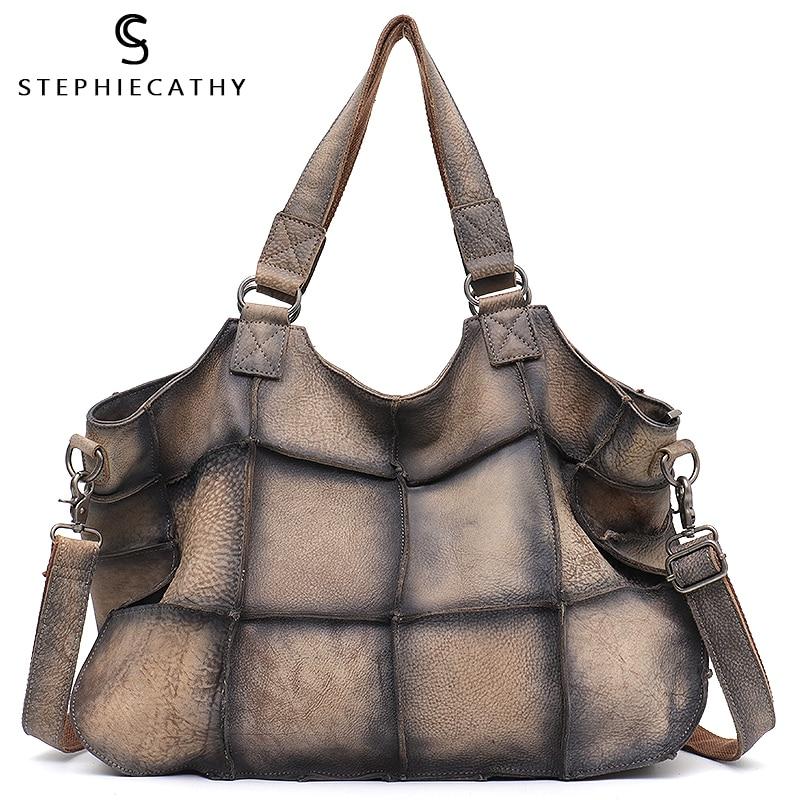 SC Large Vintage Real Leather Women Shoulder Bags Ladies Brand Design Leather Patchwork Tote Female Big Retro Crossbody Handbags