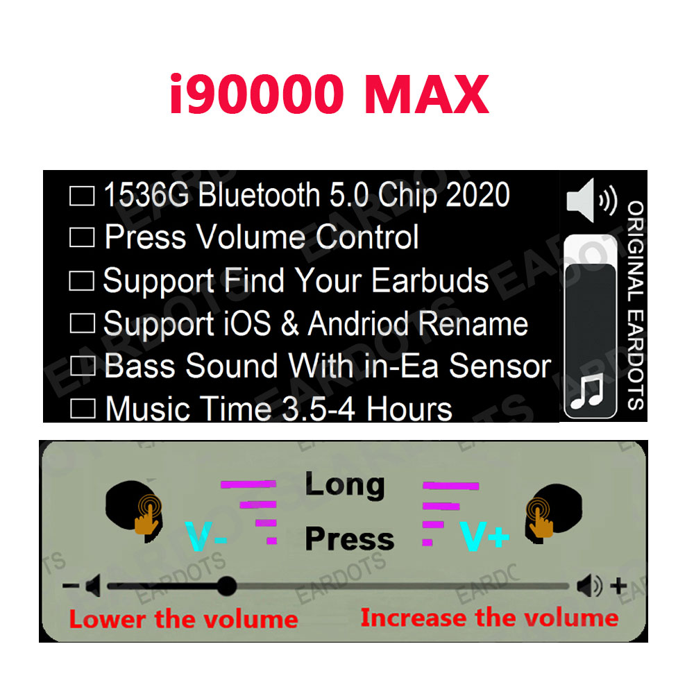 Original i90000 MAX TWS drahtlose Bluetooth 5,0 Kopfhörer wireless headset 8D Rutsche volumen control PK i5000 i90000 Pro TWS 11