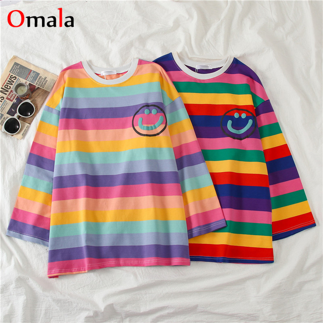 Korean letters stripe tops O-Neck All-match Students t-shirts 1
