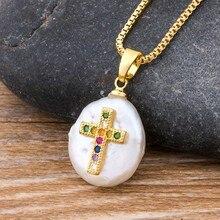 Collar clásico de cobre con Cruz de CZ para mujer, Gargantilla con colgante de cadena de eslabones dorados con perlas naturales de agua dulce, joyería religiosa