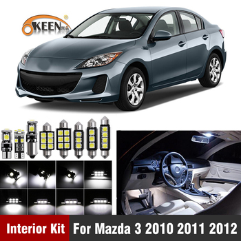 цена на 9Pcs White Canbus LED Bulbs Car Bulbs Interior Light Kit For Mazda 3 2010 2011 2012 Map Dome Trunk Plate Light Car Accessories