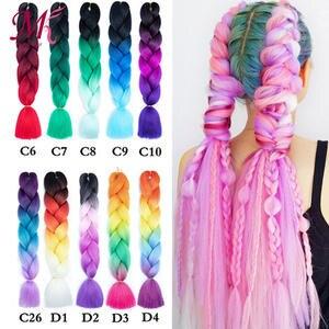 Mokogoddess Hair-Bundles Fake-Hair-Extensions Braiding Jumbo Crochet Rainbow Synthetic
