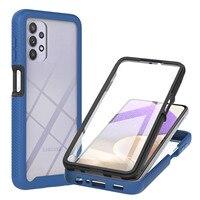 Funda de teléfono transparente resistente a prueba de golpes para Samsung Galaxy, Protector de pantalla anticaída para A32 A52 A72 A42 A02 A12 5G 4G 360