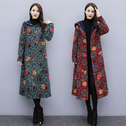 Winter New National Style Womens Wear with Fleece and Thickening Thermal Cotton Coat and Hat Printed Mid-long Outerwear  trench