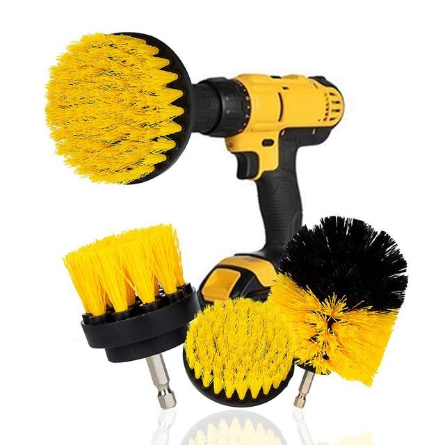 3Pcs/Set Electric Scrubber Brush Drill Brush Kit Plastic Round Cleaning Brush For Carpet Glass Car Tires Nylon Brushes 2/3.5/4