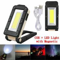 ZANCAKA Usb recarregavel cob luz de trabajo portátil lanterna led 180 grados ajuste inferior com magnético adequado acampamento