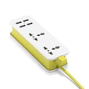 Image 5 - Ue listwa zasilająca z 4 przenośnymi przedłużaczami USB wtyczka Euro 1.5m kabel podróży Adapter USB inteligentna gniazdkowa ładowarka do telefonu pulpit Hub