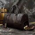 Мужская Дорожная сумка из мягкой натуральной кожи, Большая Дорожная Спортивная Сумка на ночь, большая вместительность, черная сумка для пер...