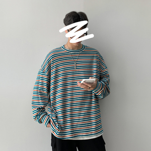 Long-sleeved T Shirt Men Fashion Contrast Color Striped Tshirt Man Streetwear Wild Hip-hop Loose O-neck Cotton T-shirt Male