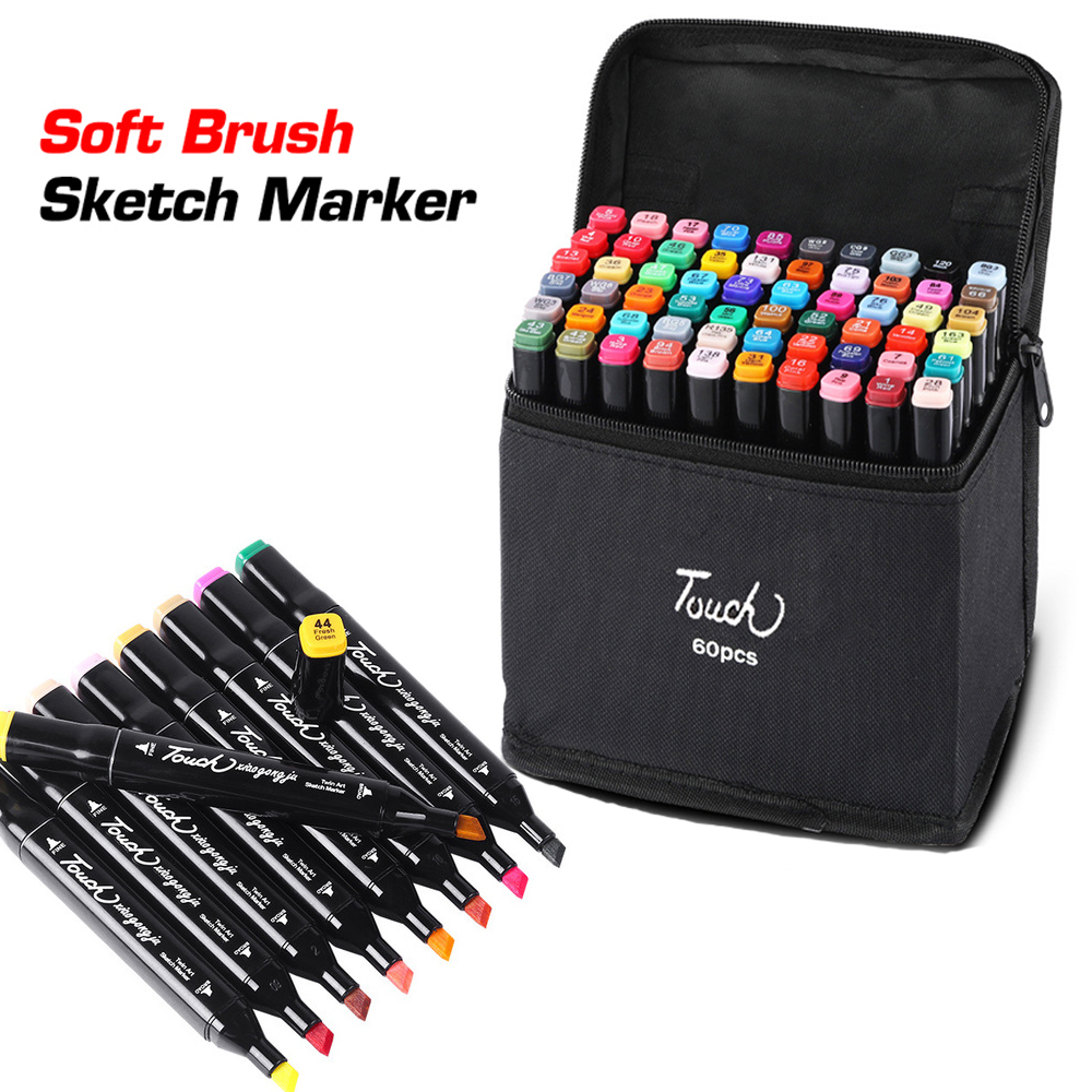 24/48/60/80/168 Color Art Marker Set Dual Headed Artist Sketch Manga Marker Professional Felt-Tip Oily Twin Brush Pen Art Supply image