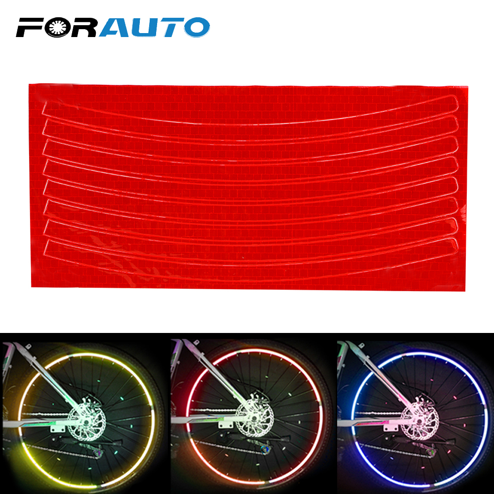 FORAUTO Bike Wheel Reflective Sticker Motorcycle Bicycle Wheel Rim Decal Safety Marker Bike Cycling Security Bike Accessories