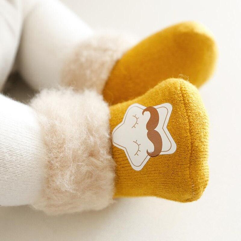 3 пары, детские носки, зимние Бархатные толстые детские носки для девочек и мальчиков, милые теплые высокие носки без пятки с рисунком для но...