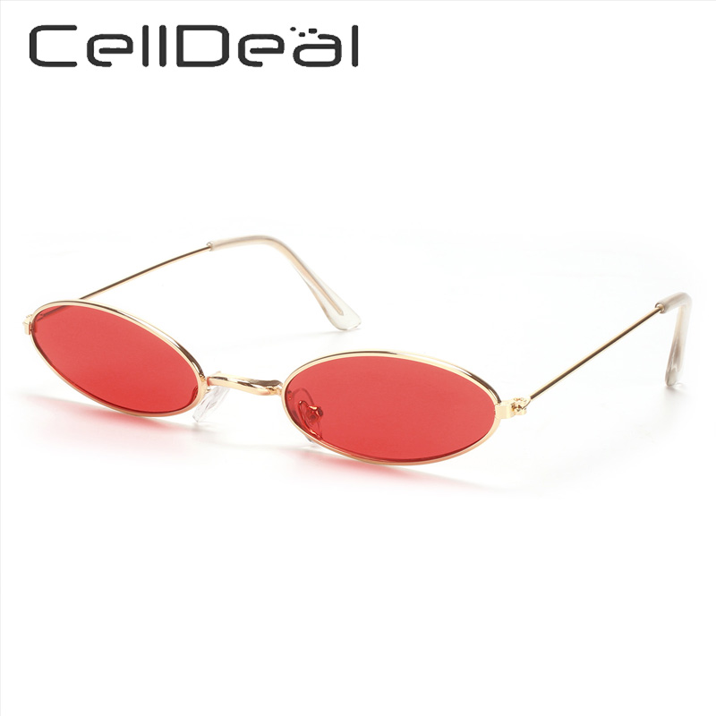 Oval Small Frame Women Sunglasses Retro Vintage Metal Frame UV Protection Lens Fashion Party Accessories Unisex 11 Colors Punk