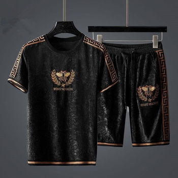 Fashion Brand Casual Suit Men s Summer Loose Top Shorts Sports Two - Piece