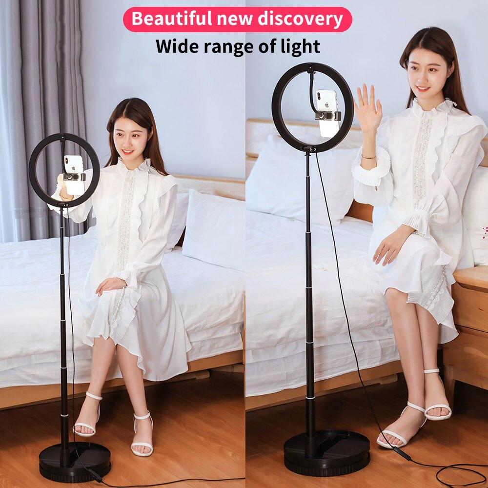 LED Selfie Lampe Dimmable Lumière Avec Support Trépieds Pour Diffusion En Direct/Maquillage Support Pour Téléphone Ringlight Pliable Lumière de Remplissage Support